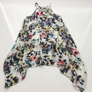 Lilyful Floral Halter Asymmetrical Gauze Dress